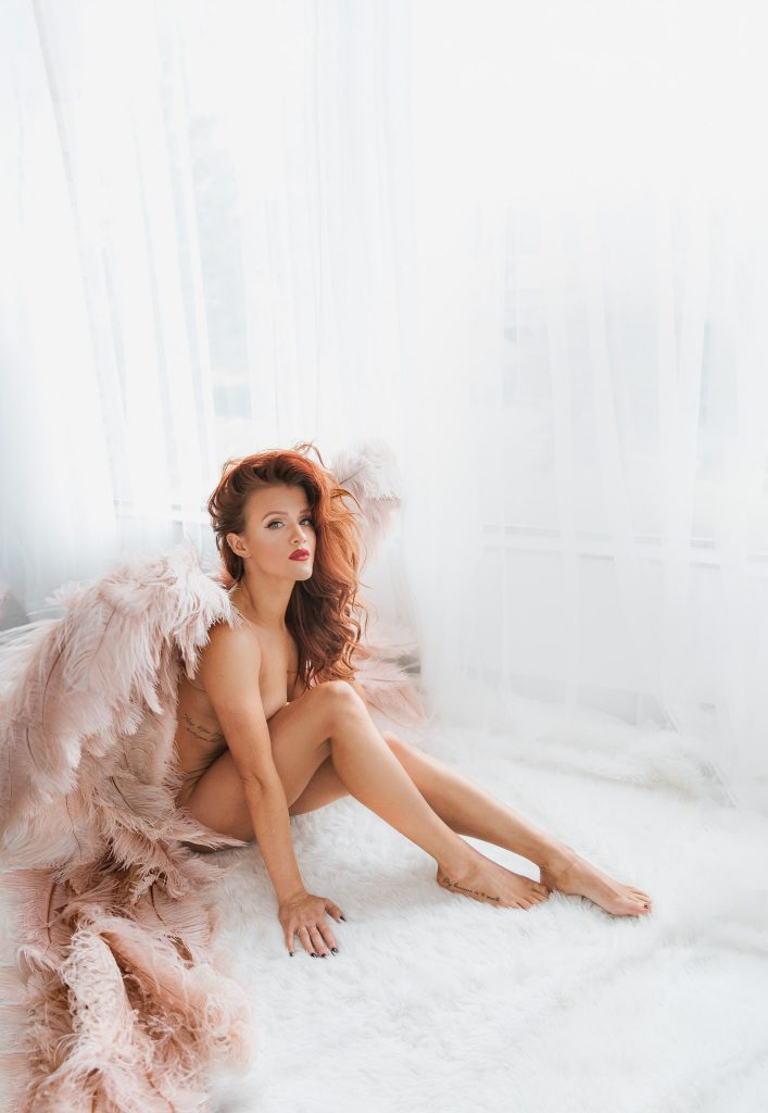 redhead angel wings exotic look red lips naked