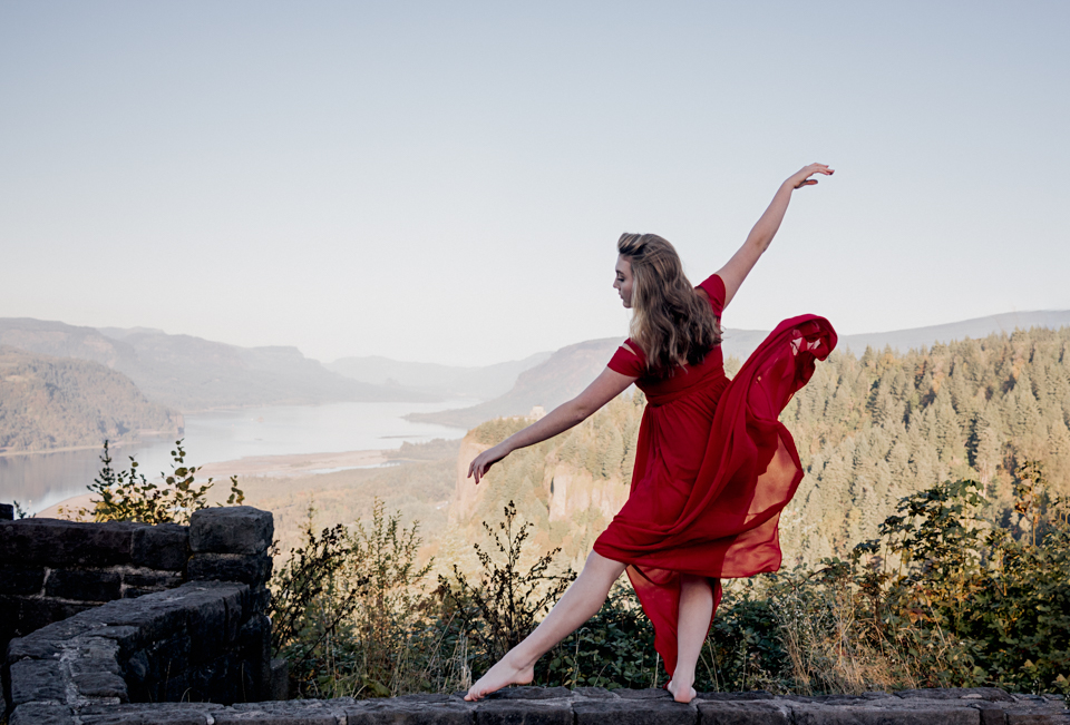 ballerina dancing in gorge, graceful