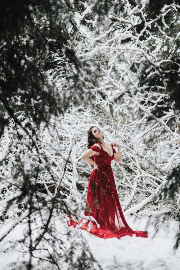 red dress snow queen photoshoot oregon