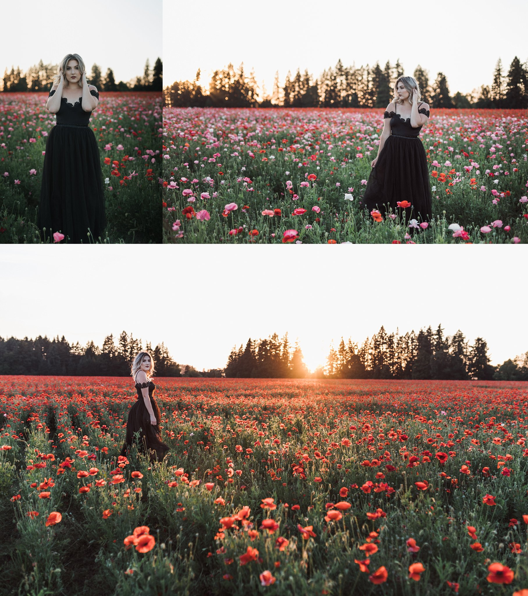 girl in a filed of poppy flowers