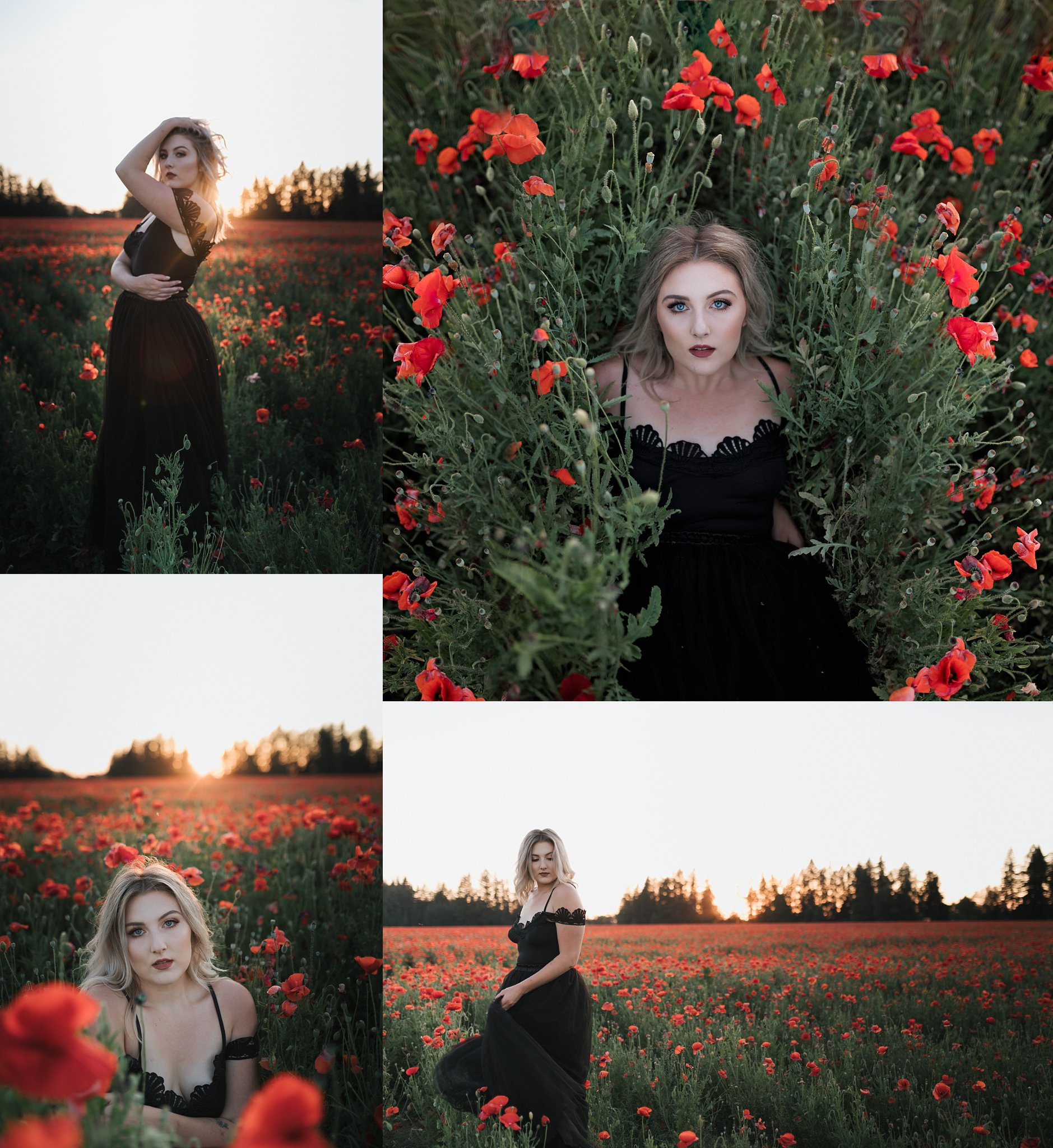 stunning senior in poppy flowers