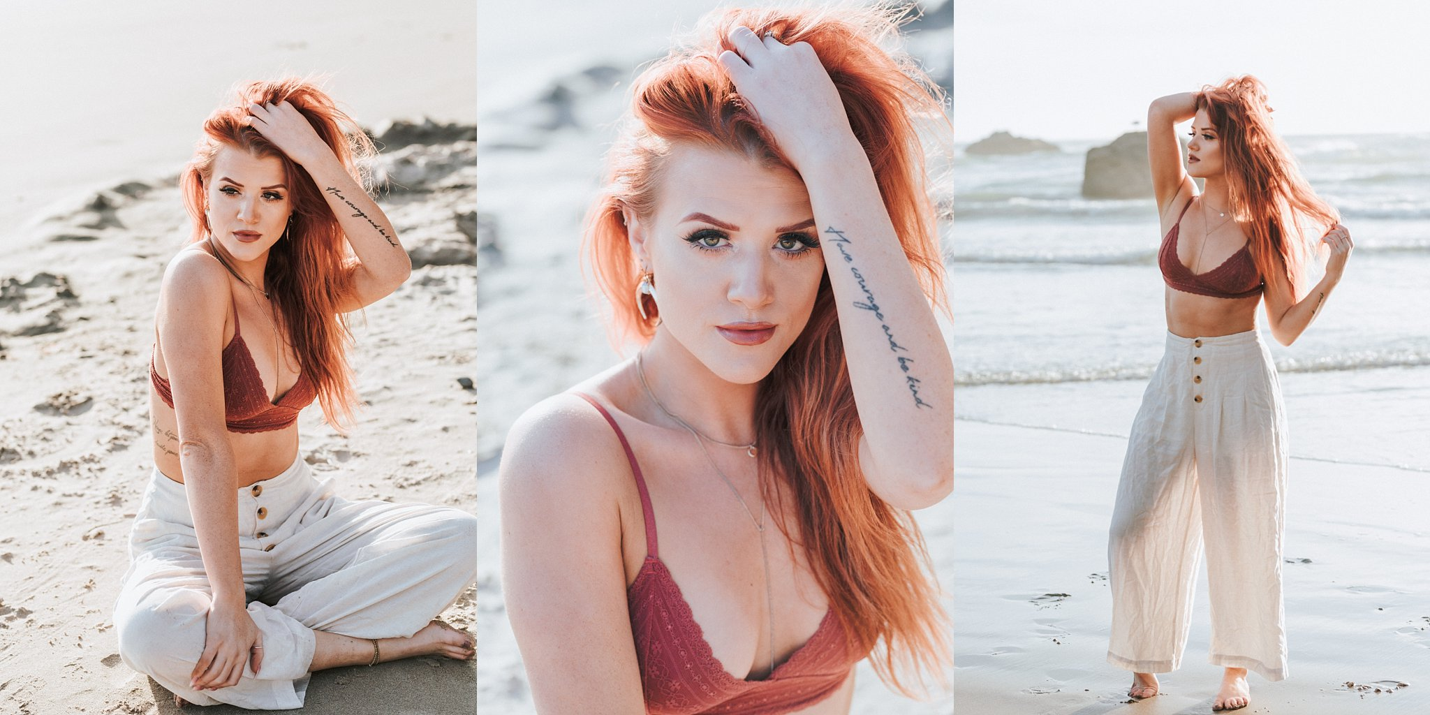 boho session beach look redhead girl