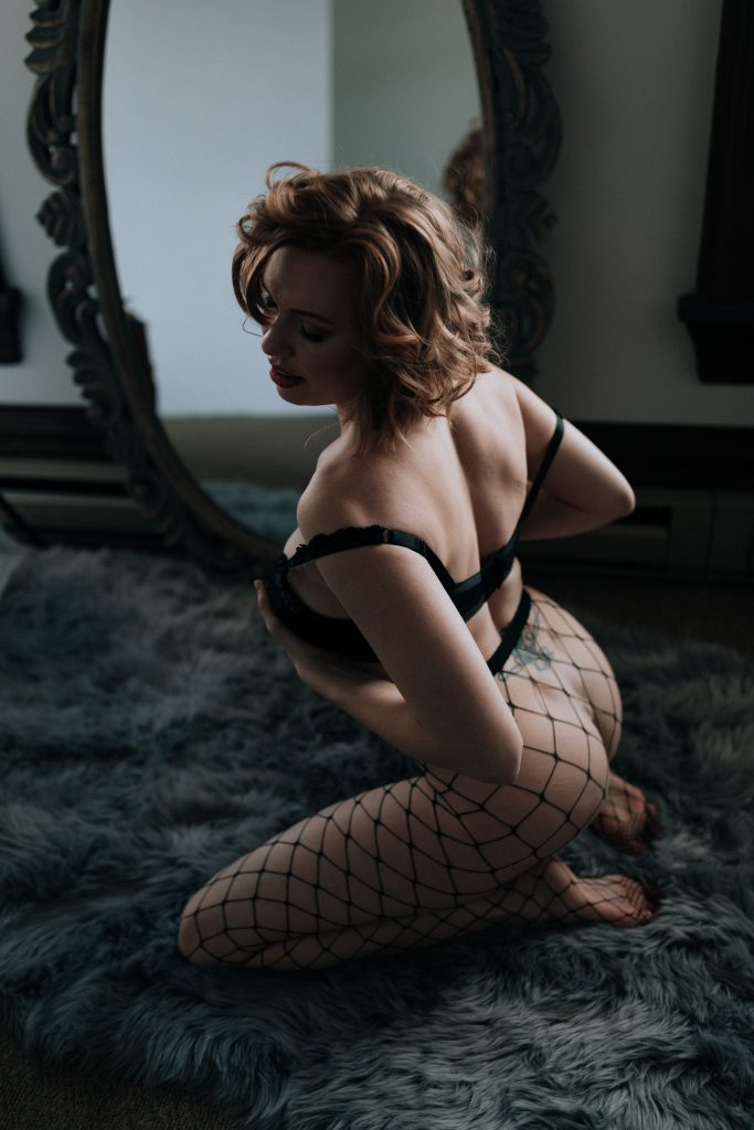 fish net and great posing for sultry boudoir in portland oregon