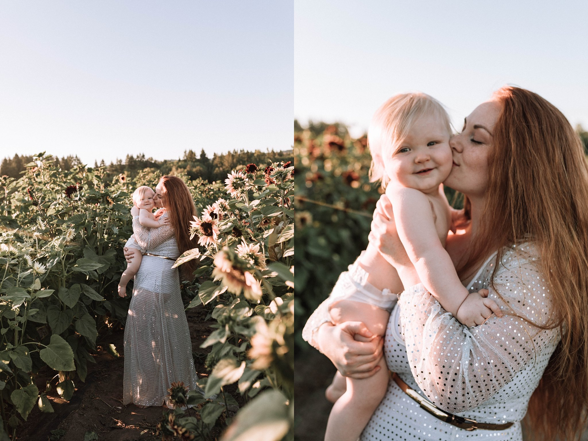 mom and baby sparkle dress in sunflower field